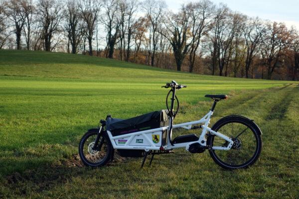 Eberrad Lastenrad vor grüner Wiese